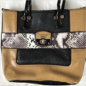 Guess Bellville Purse Snakeskin Small Tote Black